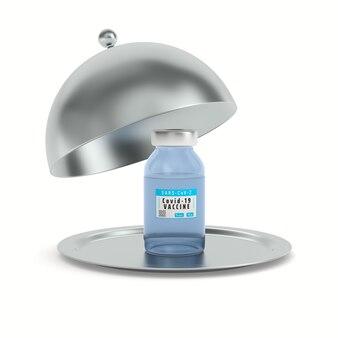 Aprire cloche metallica e vaccino da covid-19 su sfondo bianco. illustrazione 3d isolata