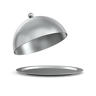 Cloche metallico aperto su sfondo bianco. illustrazione 3d isolata