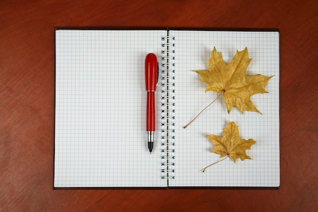 Il taccuino aperto e la penna rossa con foglia d'autunno sdraiata su un tavolo di legno