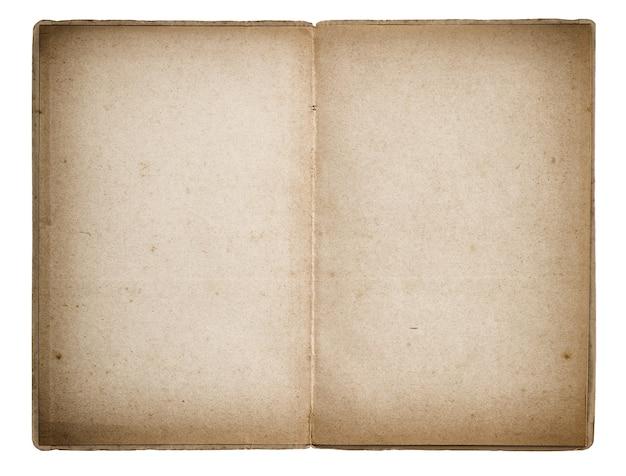 Apra le pagine di carta invecchiate del vecchio libro isolate su fondo bianco