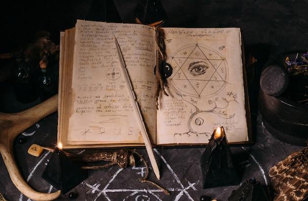 Apri vecchio libro con incantesimi, rune, candele nere sul tavolo delle streghe. concetto occulto, esoterico, divinazione e wicca. scena di halloween