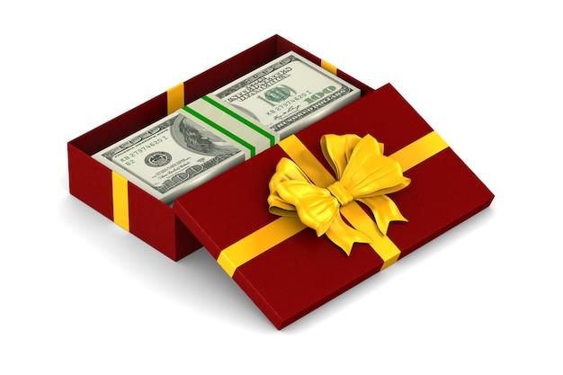 Contenitore di regalo rosso aperto con soldi su uno spazio bianco. illustrazione 3d isolata