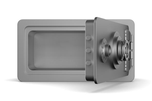 Cassaforte aperta su sfondo bianco. illustrazione 3d isolata