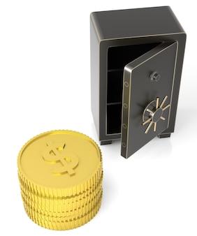 Aprire la cassaforte con una pila di monete di dollari d'oro isolate su bianco