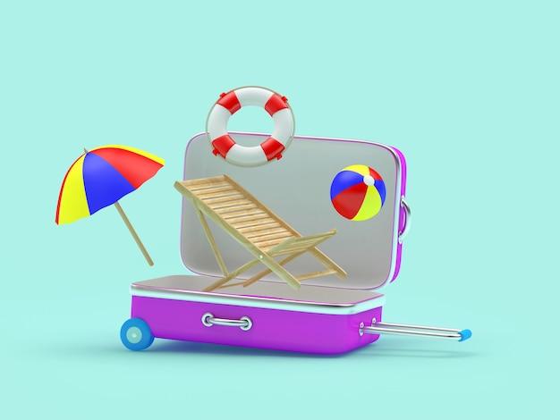 Valigia da viaggio aperta con sedia a sdraio volante con ombrellone