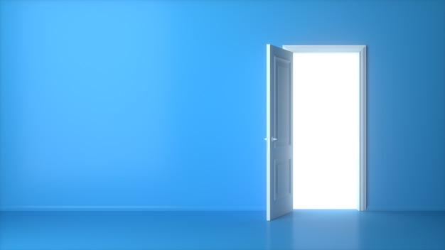 Porta bianca aperta sulla parete blu