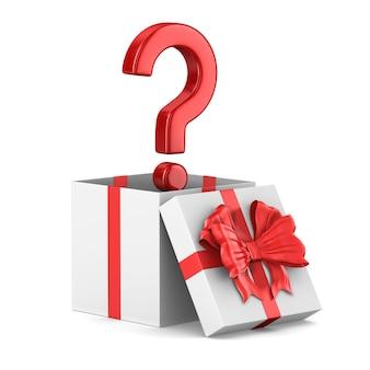Contenitore di regalo bianco aperto e domanda su uno spazio bianco