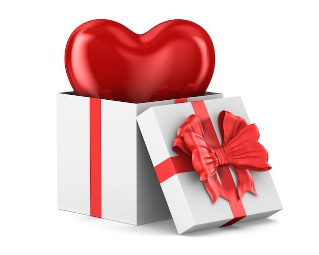 Contenitore di regalo bianco aperto con cuore su uno spazio bianco