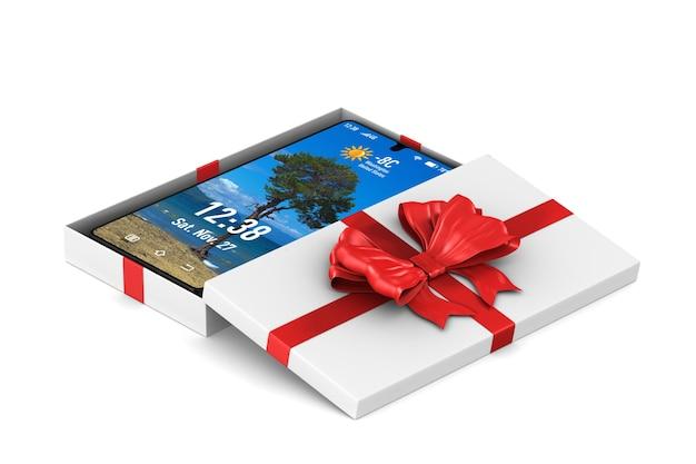 Scatola regalo bianca aperta con il telefono. rendering 3d isolato