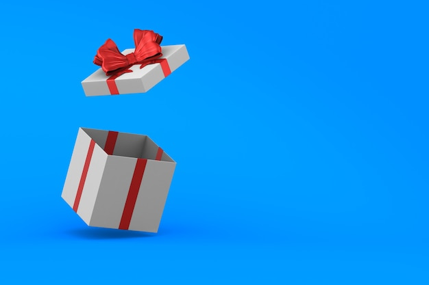 Scatola regalo bianca aperta con fiocco rosso su sfondo blu. illustrazione 3d isolata