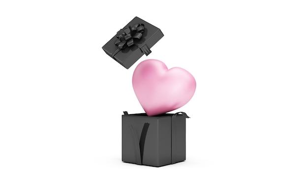 Scatola regalo nera aperta con cuore rosa all'interno su bianco