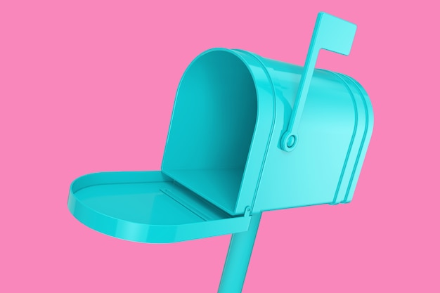 Casella di posta blu aperta mock up in stile bicolore su sfondo rosa. rendering 3d