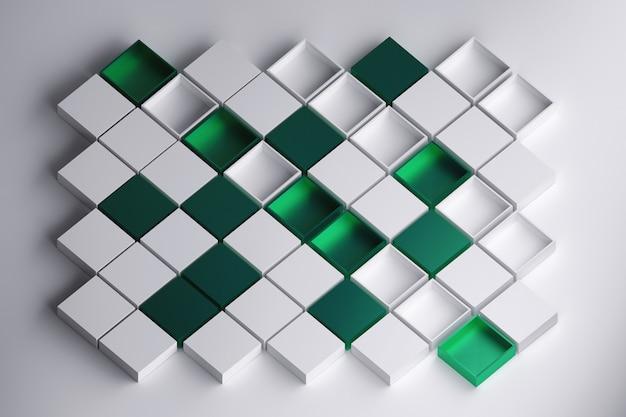 Scatole bianche e verdi aperte e chiuse