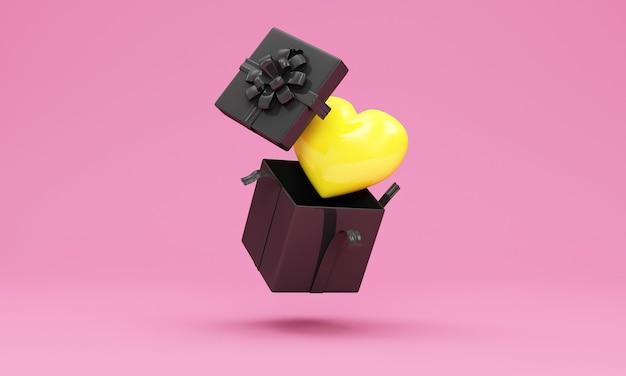Confezione regalo aperta con cuore giallo all'interno in rosa