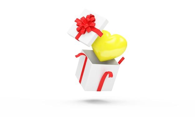 Confezione regalo aperta con cuore giallo all'interno su bianco