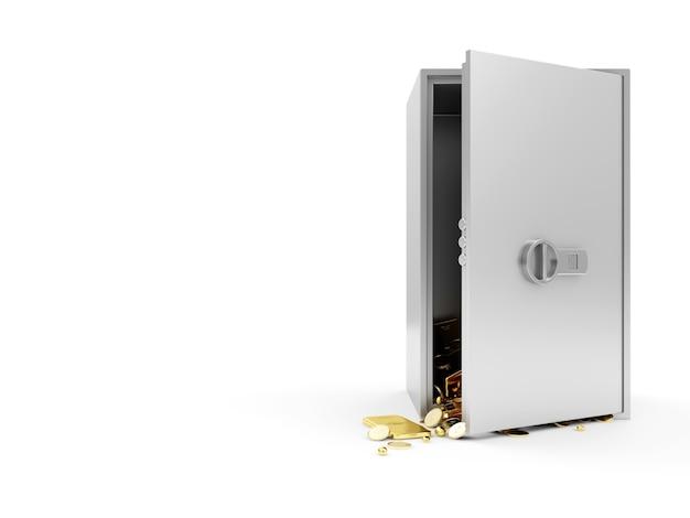 Cassaforte elettronica moderna aperta in acciaio con tesoro