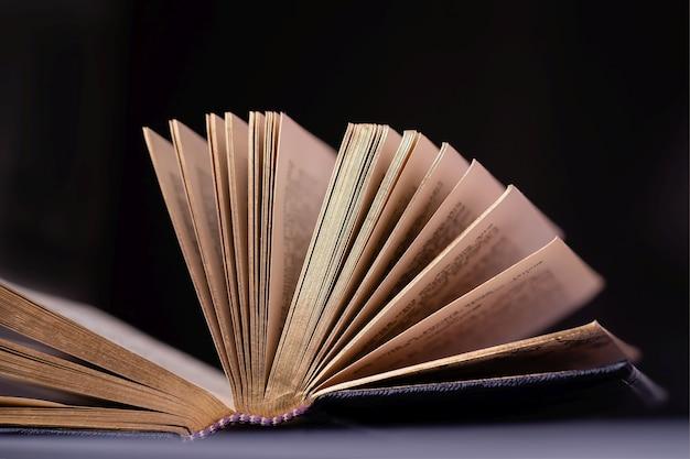 Aperto vecchio libro vintage con pagine d'oro