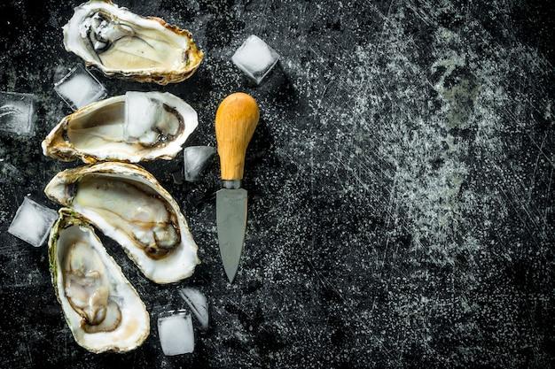 Ostriche crude aperte con cubetti di ghiaccio e coltello sulla tavola rustica nera