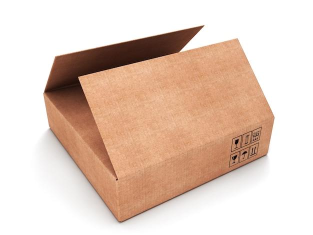 Scatola di cartone rettangolare aperta isolata