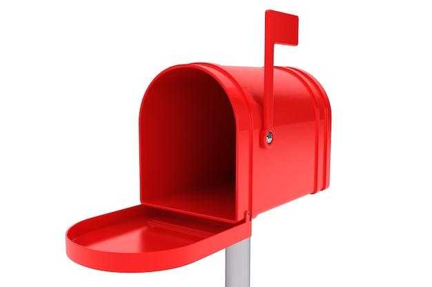 Cassetta postale rossa aperta su sfondo bianco