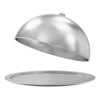 Vassoio d'argento aperto isolato