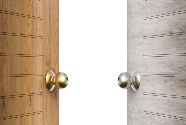 Porte in legno aperte isolate su bianco
