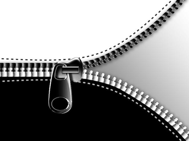 Apertura della cerniera sullo sfondo bianco e nero