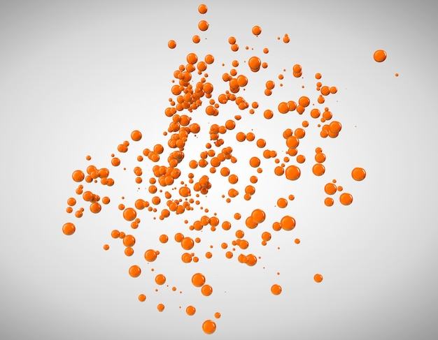 Sfere astratte arancioni su sfondo grigio