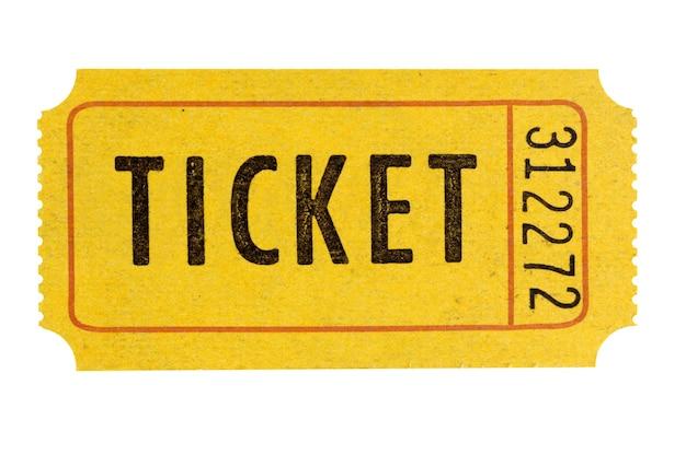 Biglietto d'ingresso arancione isolato bianco