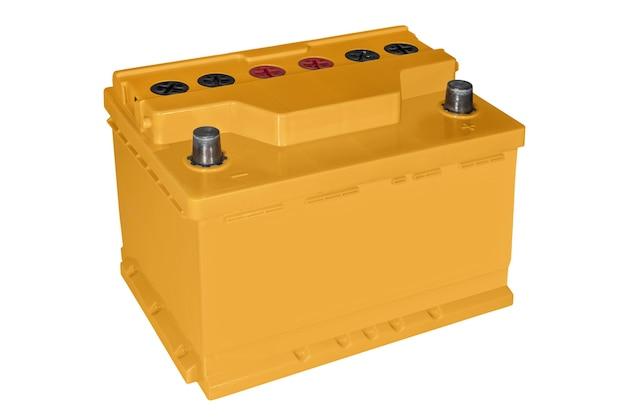 Batteria per auto arancione su sfondo bianco
