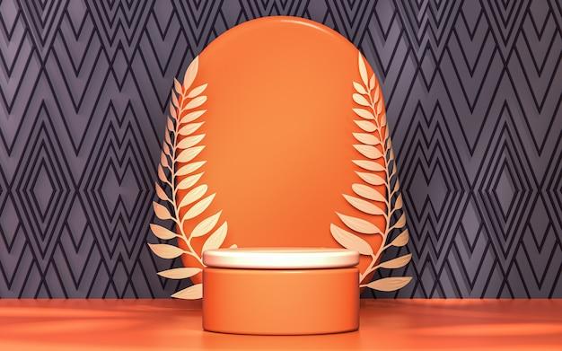 Cerchio arancione con podio in foglia d'oro mostra la fase del prodotto 3d che rende lo sfondo astratto