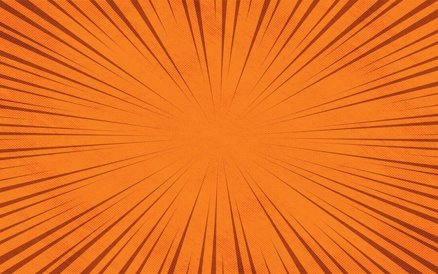 Sfondo colorato dei cartoni animati di raggi zoom comici arancioni