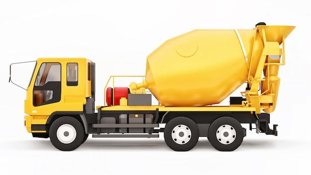 Spazio bianco del camion arancione della betoniera. illustrazione tridimensionale di attrezzatura per l'edilizia. rendering 3d.