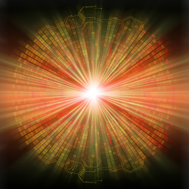Fondo futuro di concetto di tecnologia del circuito cyber dell'occhio arancione
