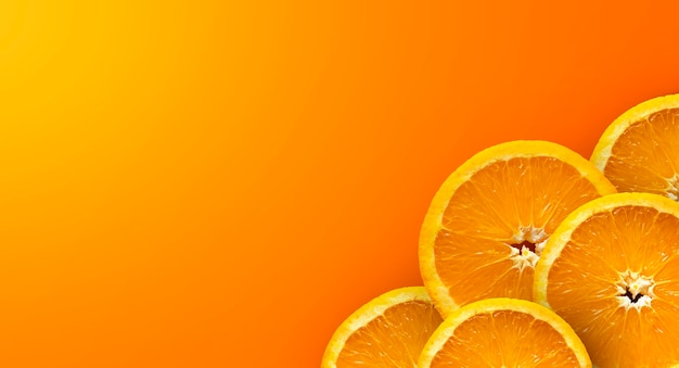 Frutta arancione su sfondo giallo e rosso