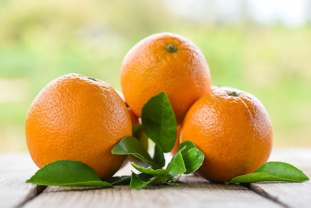 Frutti arancioni con foglia su legno e natura