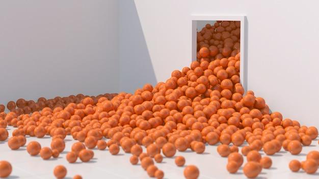 Sfere lucide arancioni che cadono e rotolano. stanza bianca, luce intensa