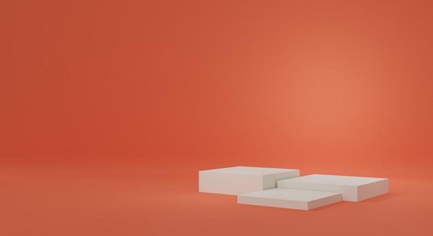 Studio sfumato arancione con piedistalli bianchi o champagne per la visualizzazione dei prodotti. podio vuoto per la pubblicità. rendering 3d.