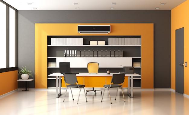 Ufficio moderno arancione e grigio con sedie