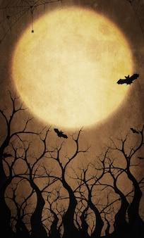 Sfondo arancione di halloween con la luna piena e il pipistrello