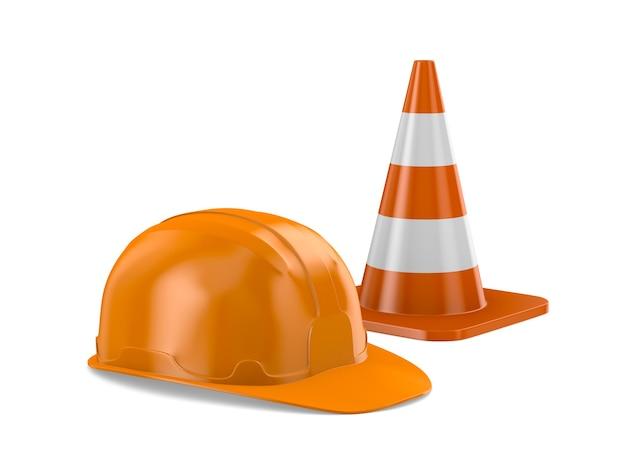 Elmetto arancione e cono stradale su sfondo bianco. illustrazione 3d isolata