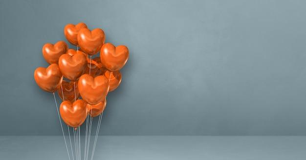 Mazzo di palloncini a forma di cuore arancione su sfondo grigio muro. banner orizzontale. rendering di illustrazione 3d