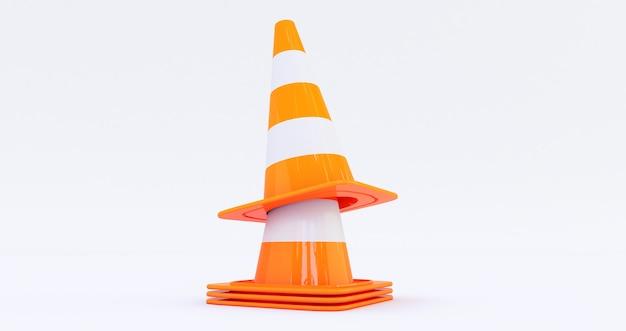 Coni di costruzione di traffico autostradale arancione isolati su sfondo bianco 3d render