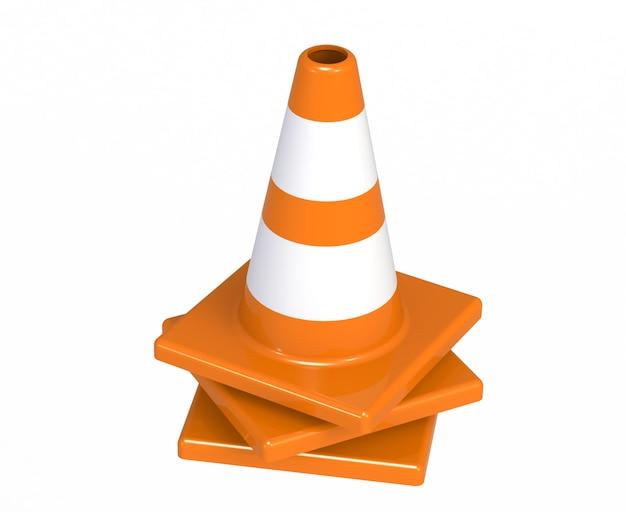 Coni di costruzione del traffico autostrada arancione con strisce bianche