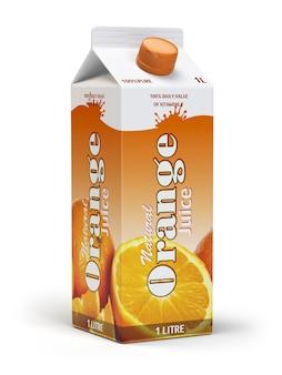 Succo d'arancia cartone scatola di cartone pack isolato su sfondo bianco 3d illustartion
