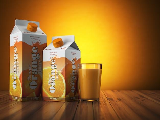 Confezione di scatola di cartone di succo d'arancia con vetro su sfondo arancione 3d illustartion