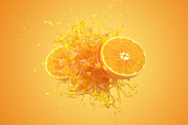Il liquido del succo d'arancia con la frutta arancio su fondo giallo 3d rende