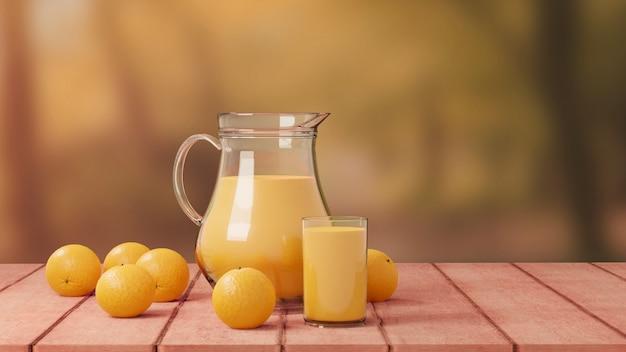 Succo d'arancia con vetro e brocca sulla natura di legno del pavimento