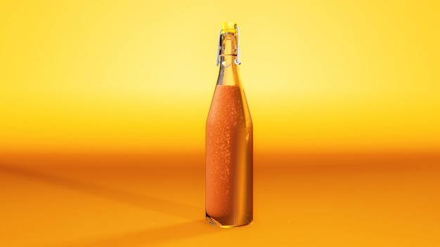 Succo d'arancia con soda in una bottiglia di vetro con sfondo arancione. bere e bevanda di freschezza concetto. rendering 3d illustrazione