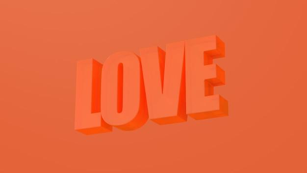 Parola di amore arancione. progettazione di tipografia. illustrazione astratta, rendering 3d.